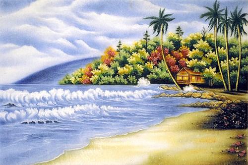 tranh đá quý phong cảnh bờ biển châu âu